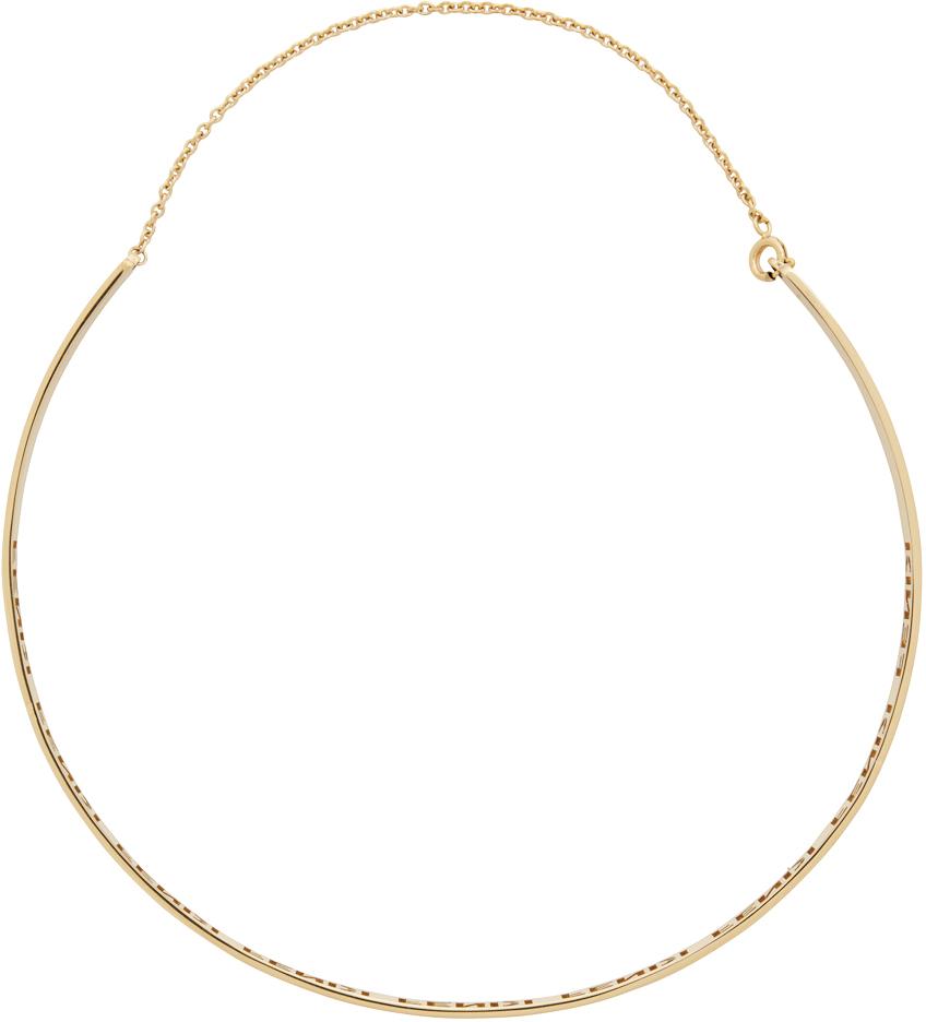 Fendi Gold Signature Necklace In F0cfk Gold