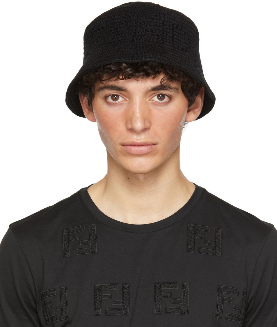 Fendi Black Cotton Bucket Hat In F0qa1black