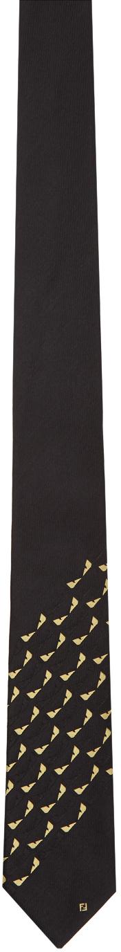 Fendi Black & Yellow Silk Bag Bugs Tie In F0qa1 Black