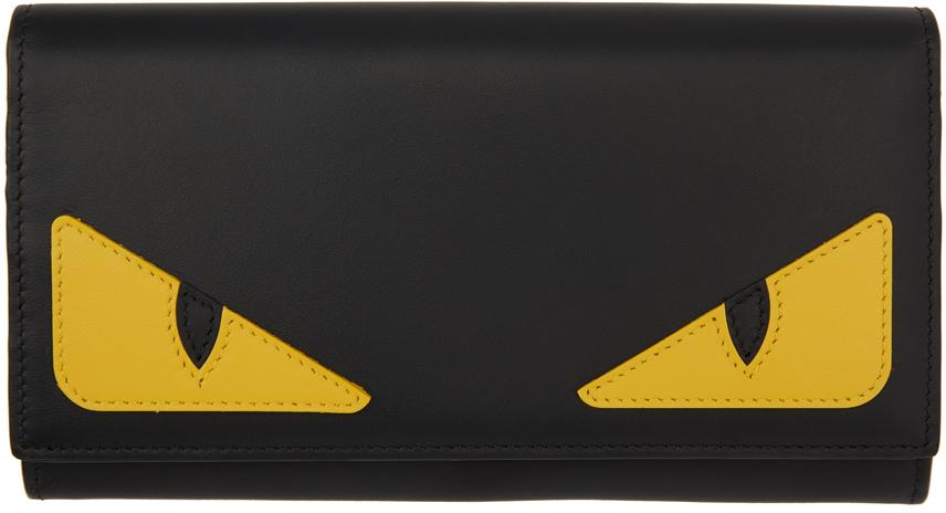 Fendi Black & Yellow Bag Bugs Continental Wallet In F0u9t - Ner
