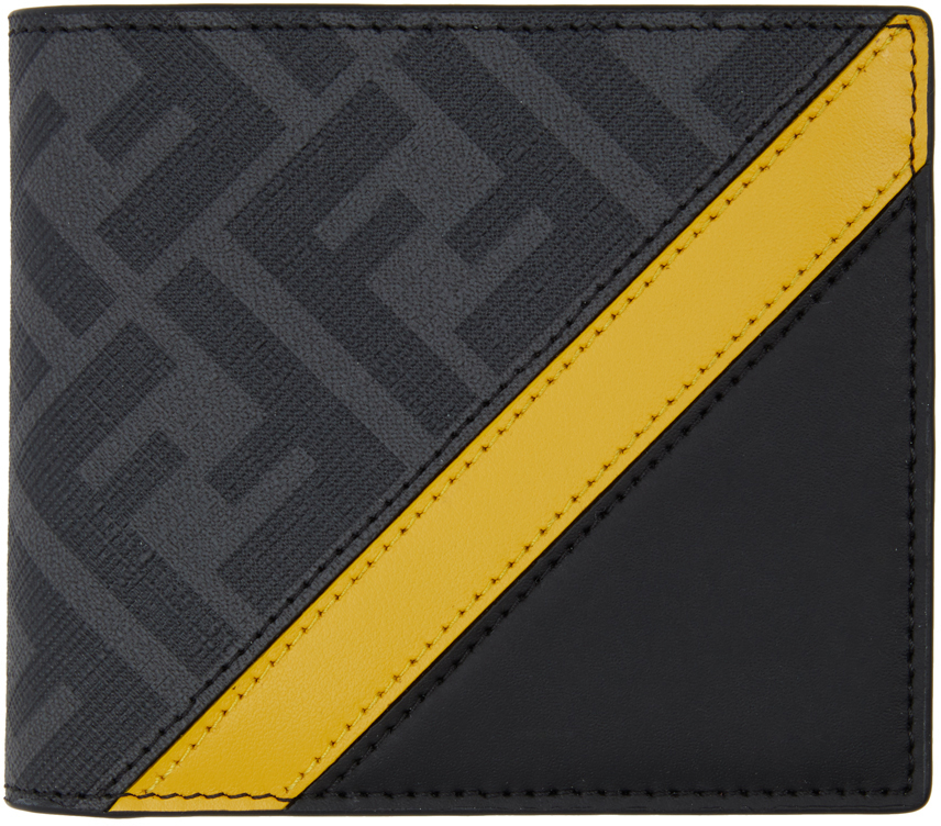 Fendi Black & Yellow 'forever ' Bifold Wallet In F0r2a - Ner