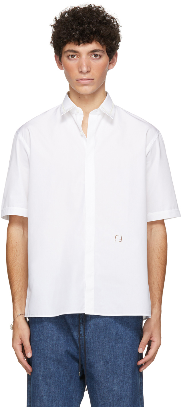 Fendi 白色刺绣短袖衬衫
