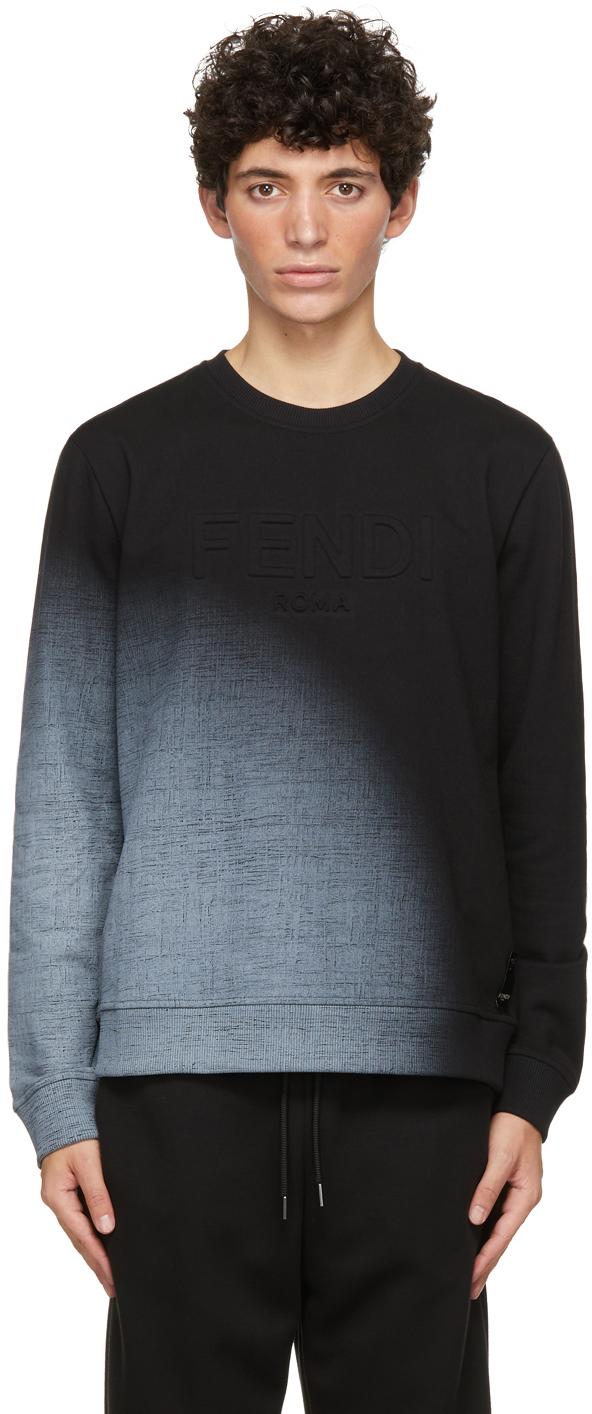 Fendi Black Embossed Logo Sweatshirt In F0gme Black