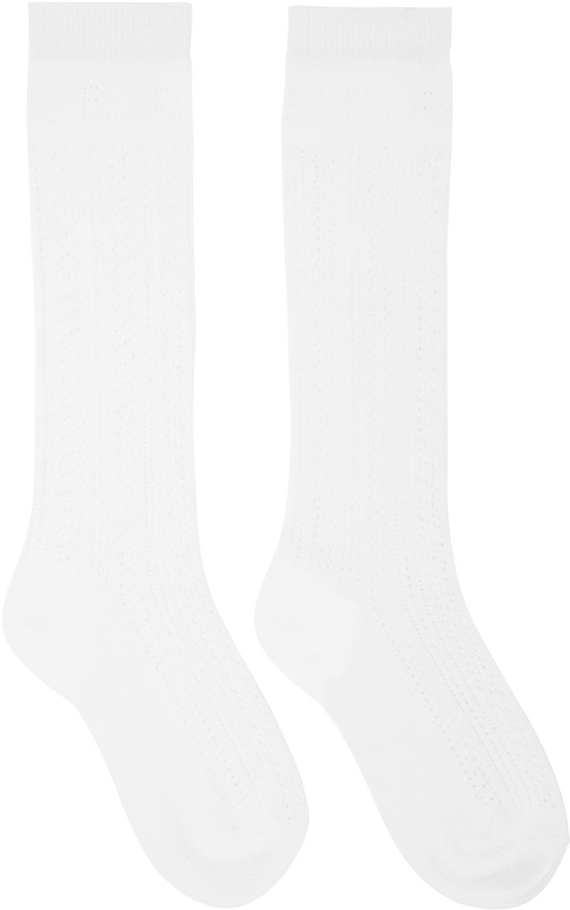 White Cotton Macramé Socks