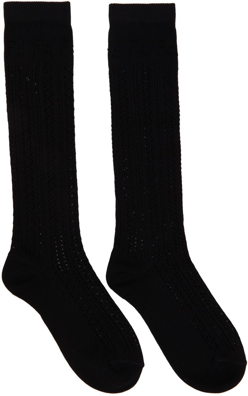 Black Cotton Macramé Socks