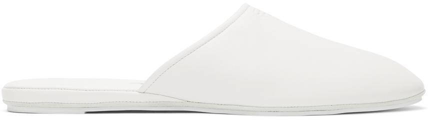 White Nappa Logo Mules