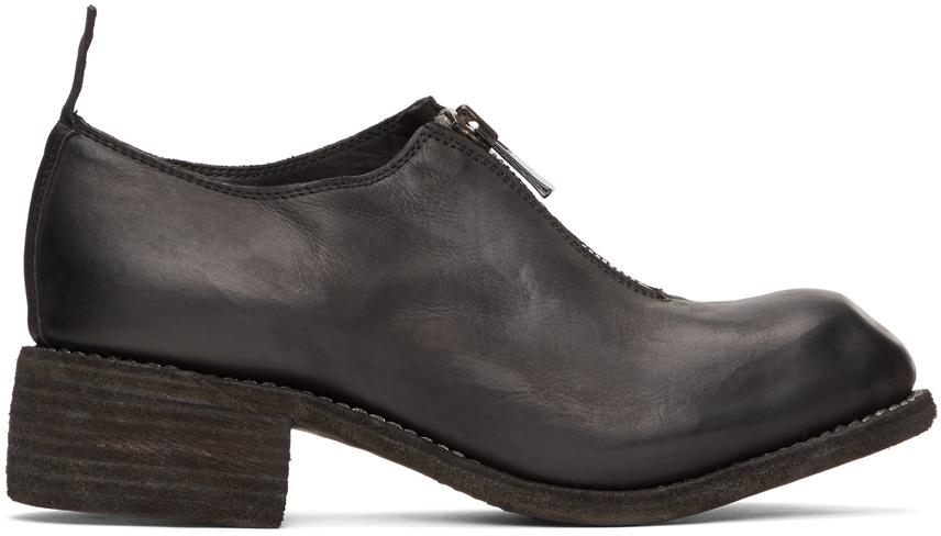 Black Front-Zip Loafers