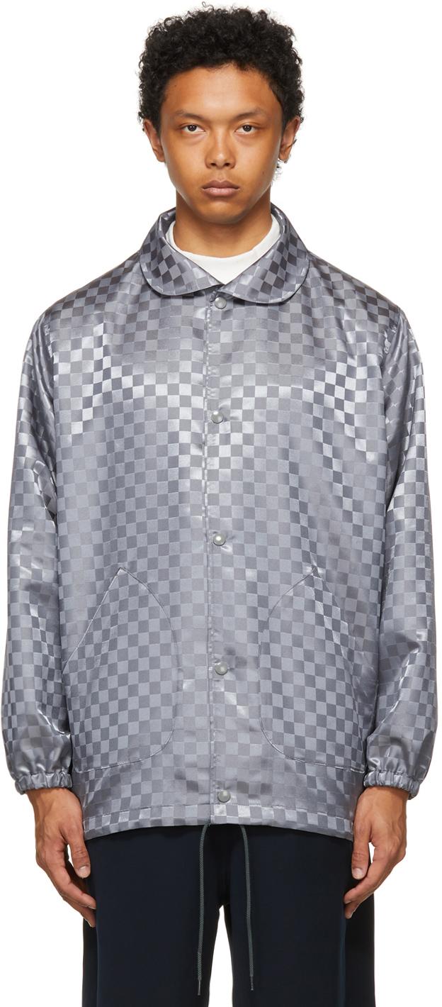 The Conspires 灰色格纹教练夹克