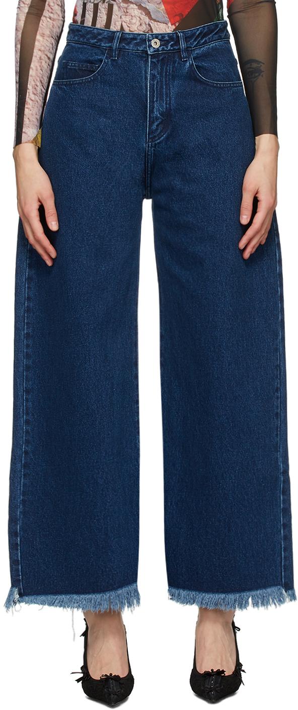 Marques Almeida SSENSE Exclusive Navy Boyfriend Jeans