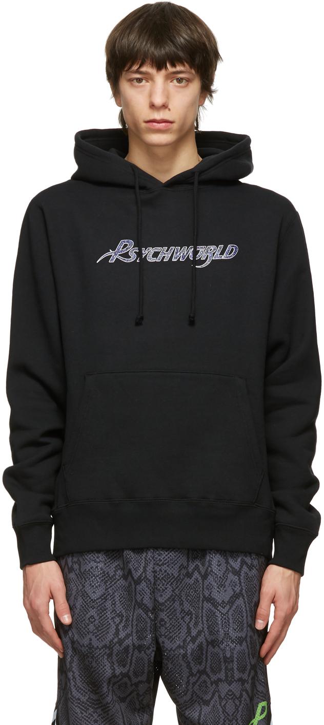 Psychworld ブラック & パープル Snake ロゴ フーディ