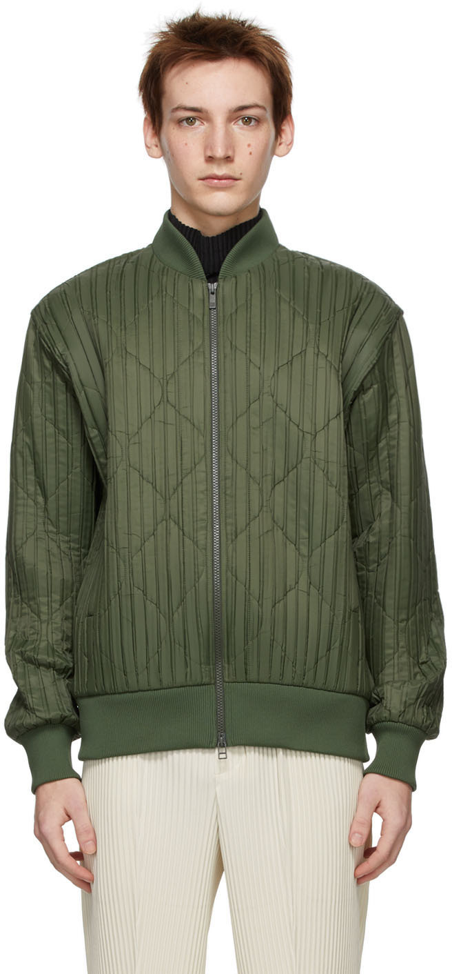 Khaki Padded Pleats Bomber Jacket