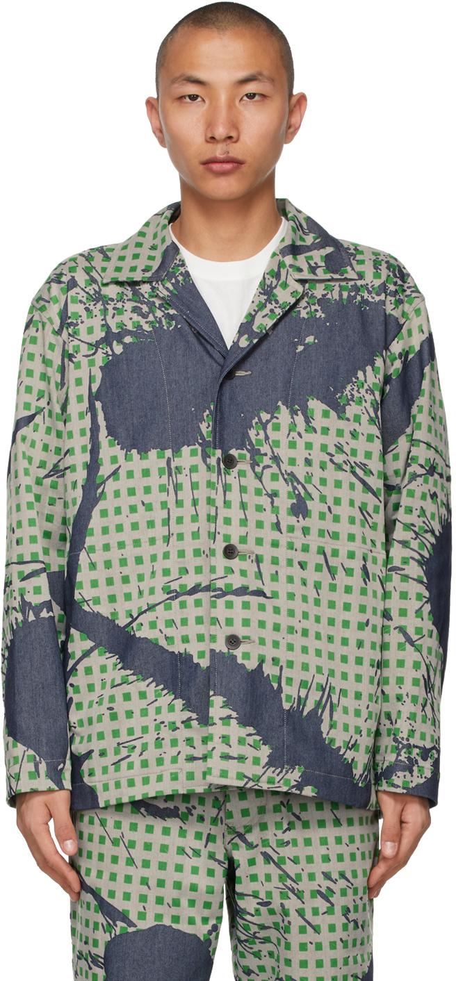 Green Denim Burnt-Out Printed Jacket