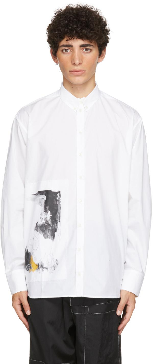 White Graphic Print Shirt