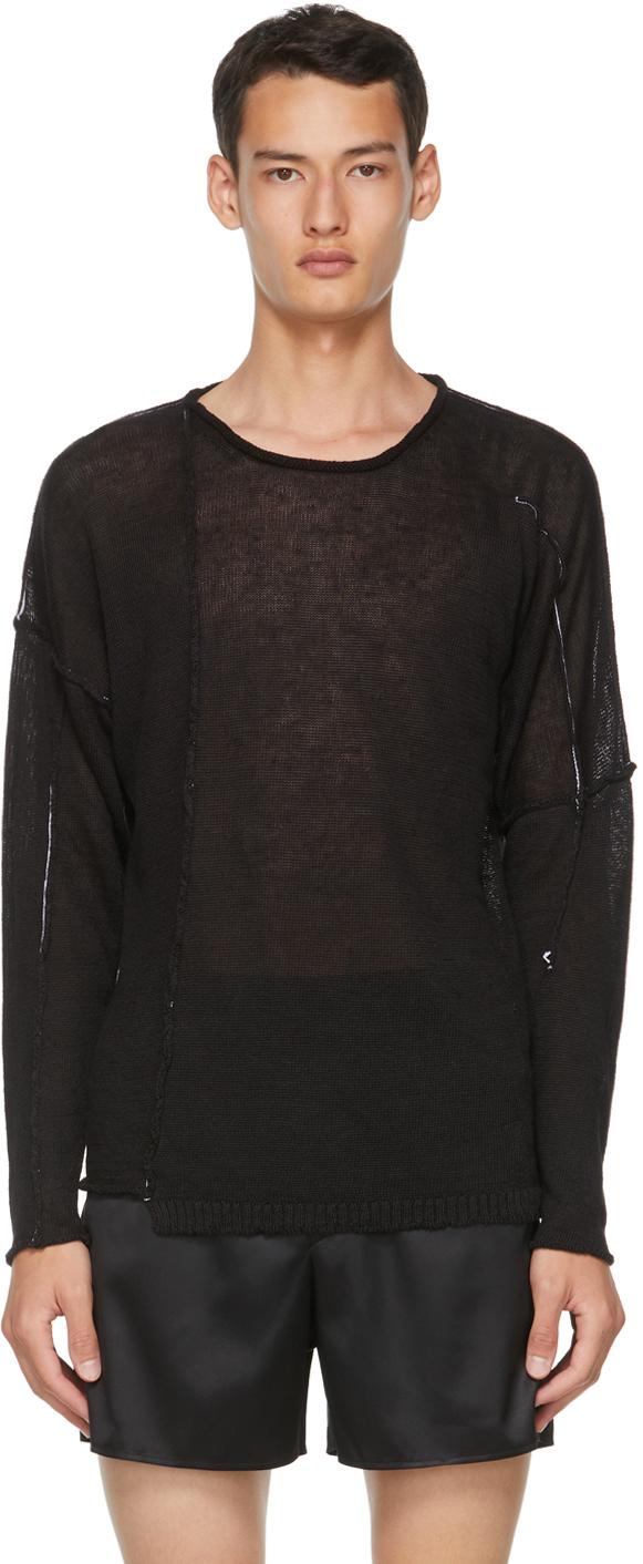 Black Linen Knit Sweater