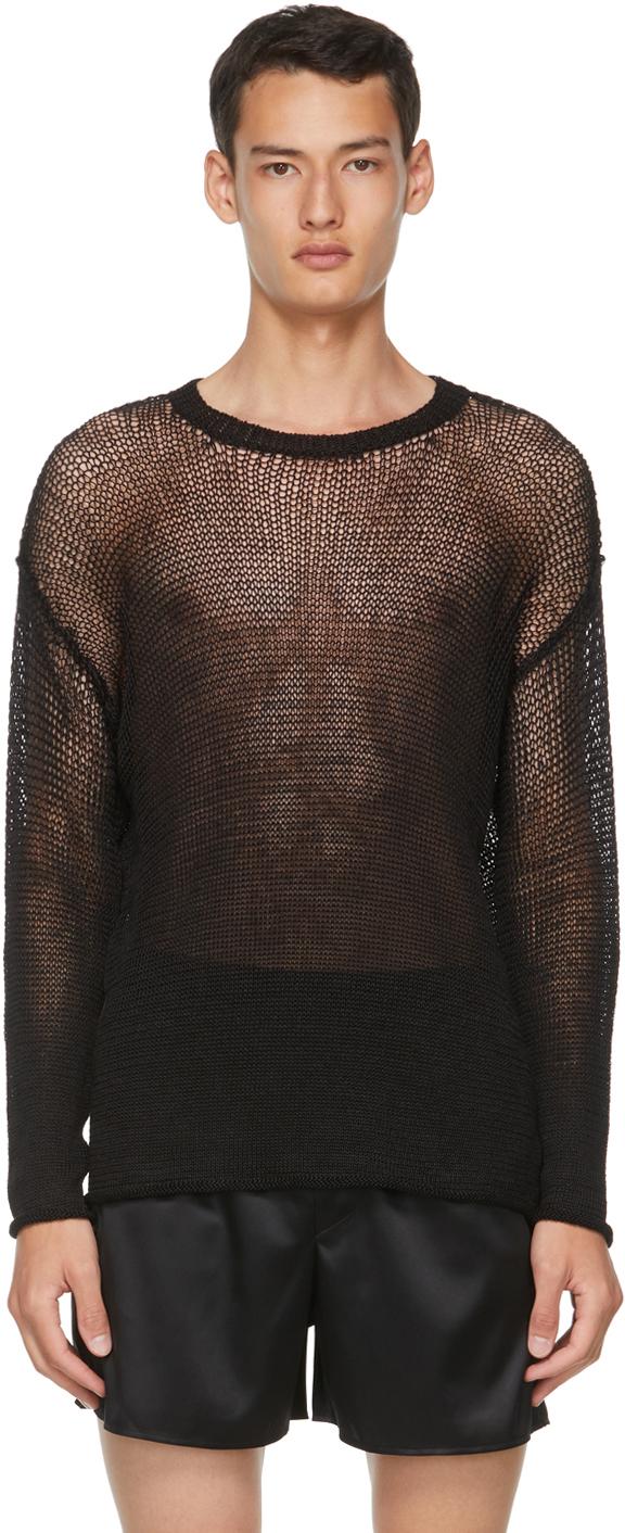 Black Open Knit Degrade Sweater