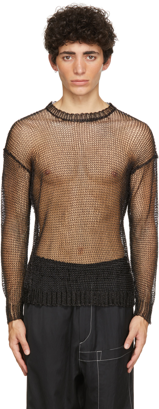 Black Knit Mesh Metal Crewneck Sweater