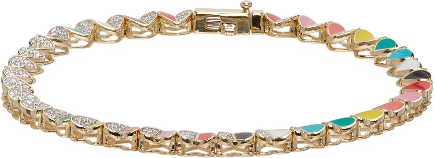 Gold Ceramic Pavé Folded Heart Tennis Bracelet