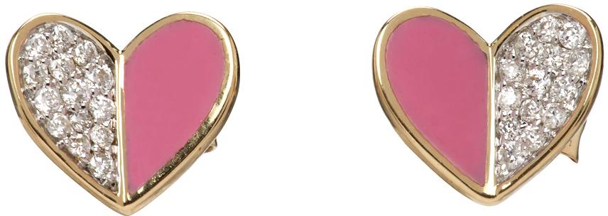 Gold & Pink Ceramic Pavé Folded Heart Earrings