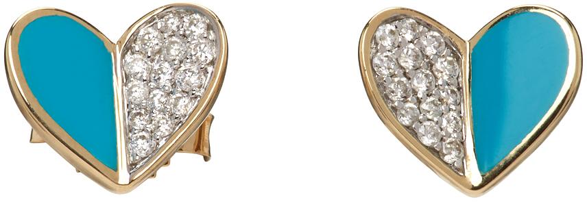 Gold & Blue Ceramic Pavé Folded Heart Earrings