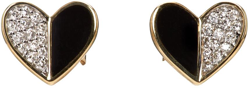Gold & Black Ceramic Pavé Folded Heart Earrings