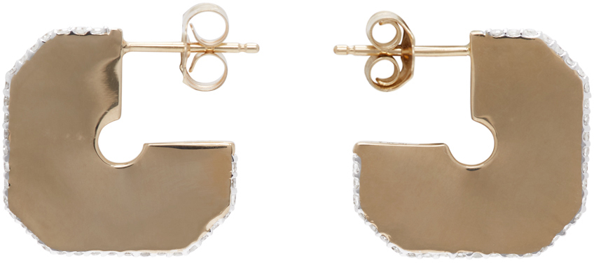 Gold Square Pavé Dog Tag Hoop Earrings
