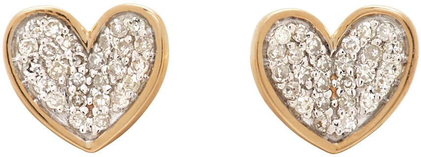 Gold Tiny Pave Folded Heart Earrings