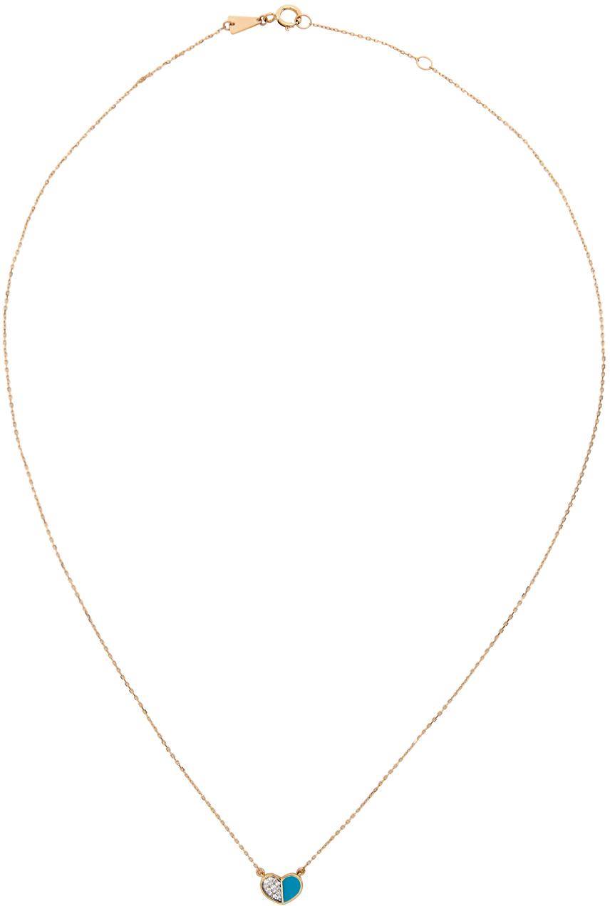 Gold & Blue Ceramic Pavé Folded Heart Necklace