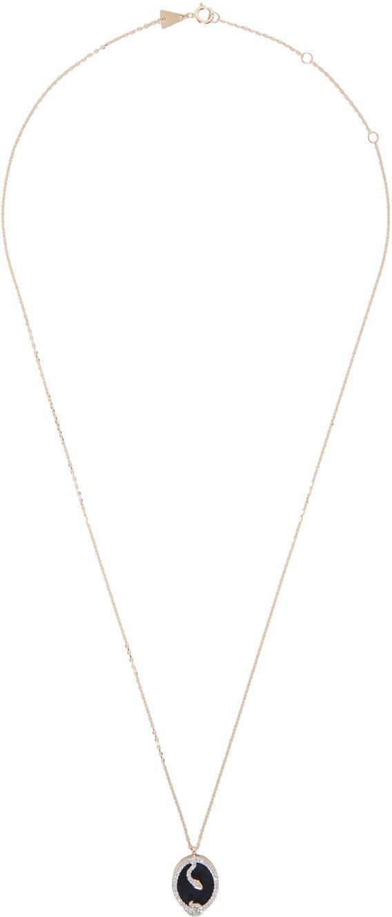 Gold Diamond & Onyx Tiny Snake Pendant Necklace