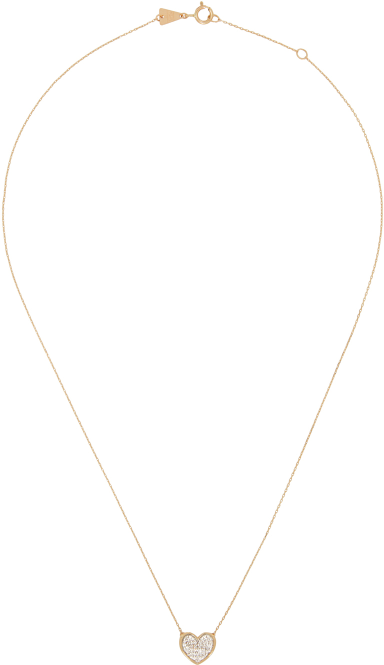 Gold Pavé Folded Heart Necklace