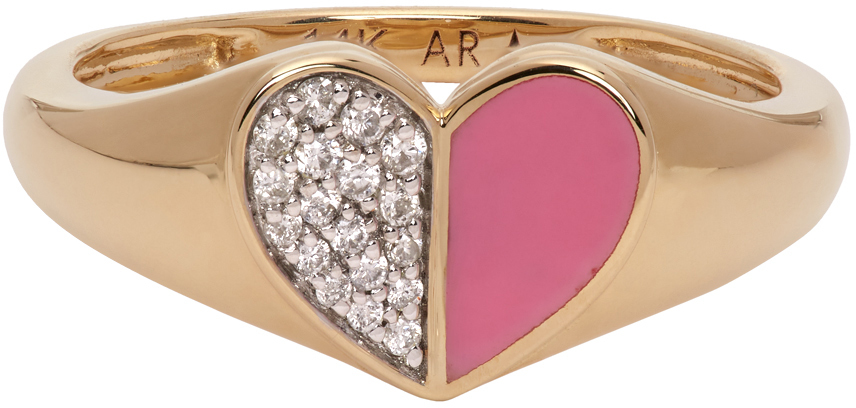 Gold & Pink Ceramic Pavé Folded Heart Ring