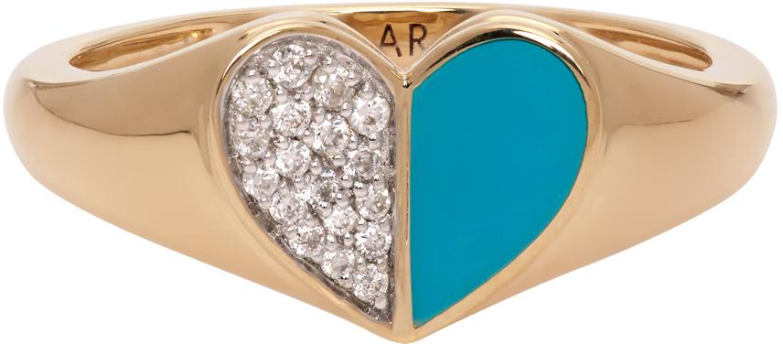 Gold & Blue Ceramic Pavé Folded Heart Ring