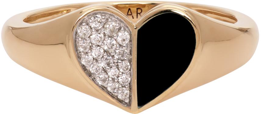 Gold & Black Ceramic Pavé Folded Heart Ring