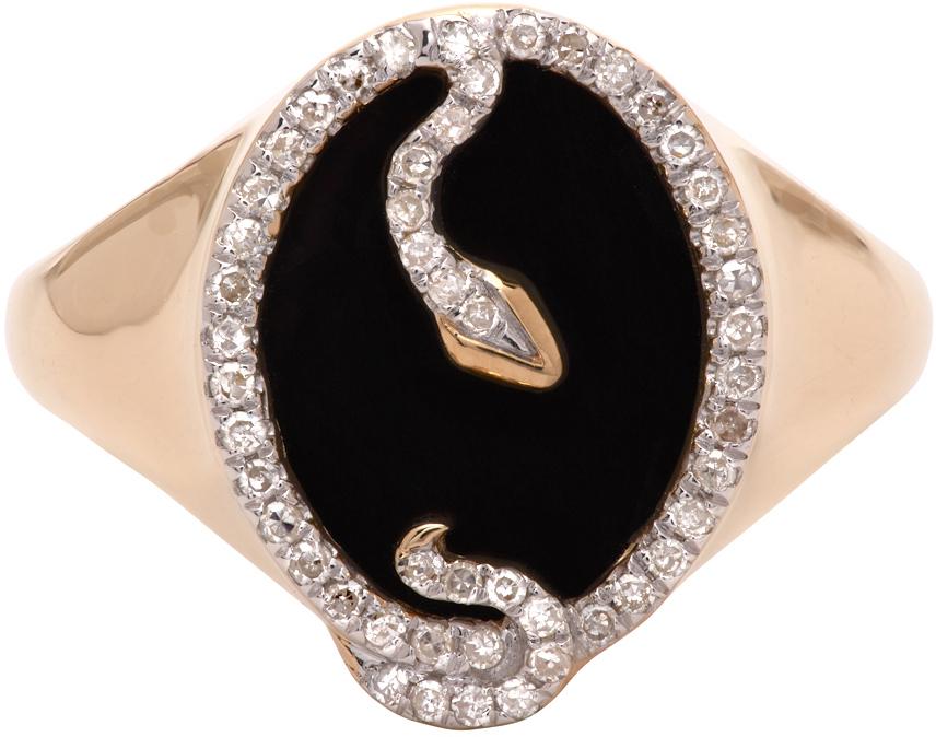 Gold Onyx Oval Snake Signet Ring