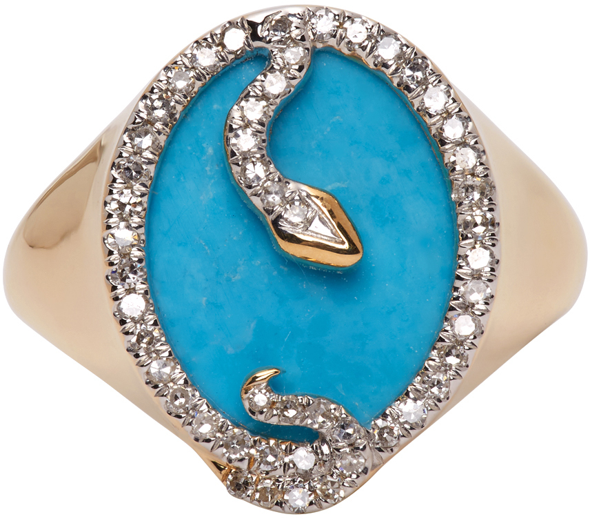 Gold & Turquoise Oval Snake Signet Ring