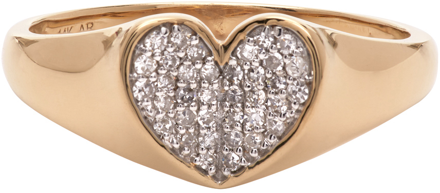 Gold Diamond Pavé Folded Heart Ring