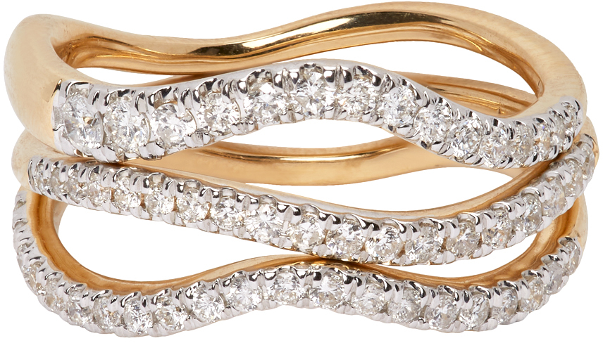 Gold Pavé Wave Ring Set