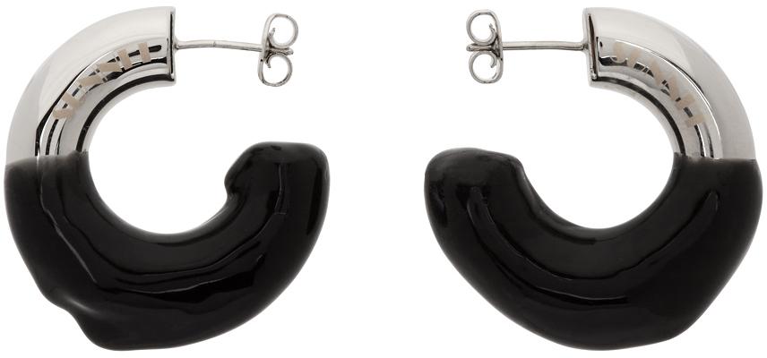 Sunnei Silver & Black Small Rubberized Hoop Earrings