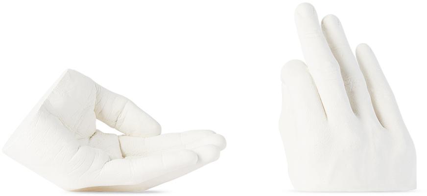 White Casted Hands Incense Holder