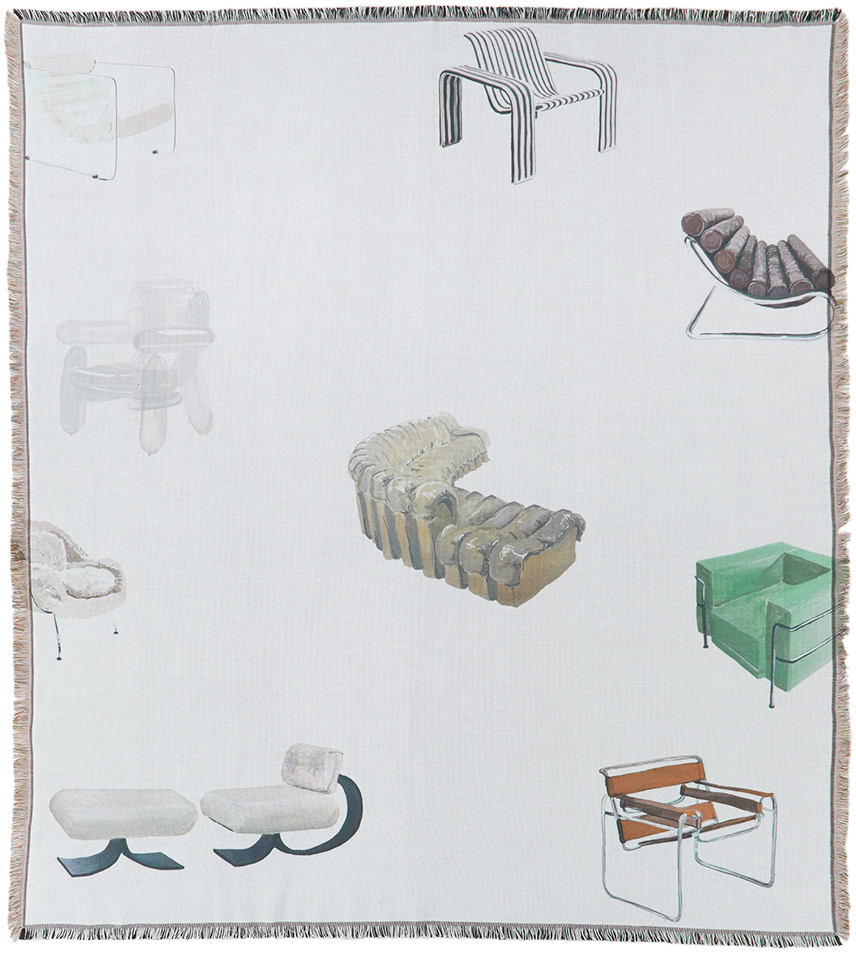 Off-White Chairs Throw Blanket