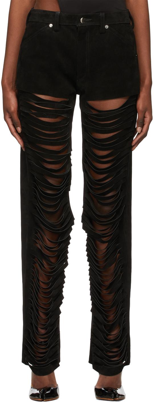 Black Slash Suede Pants