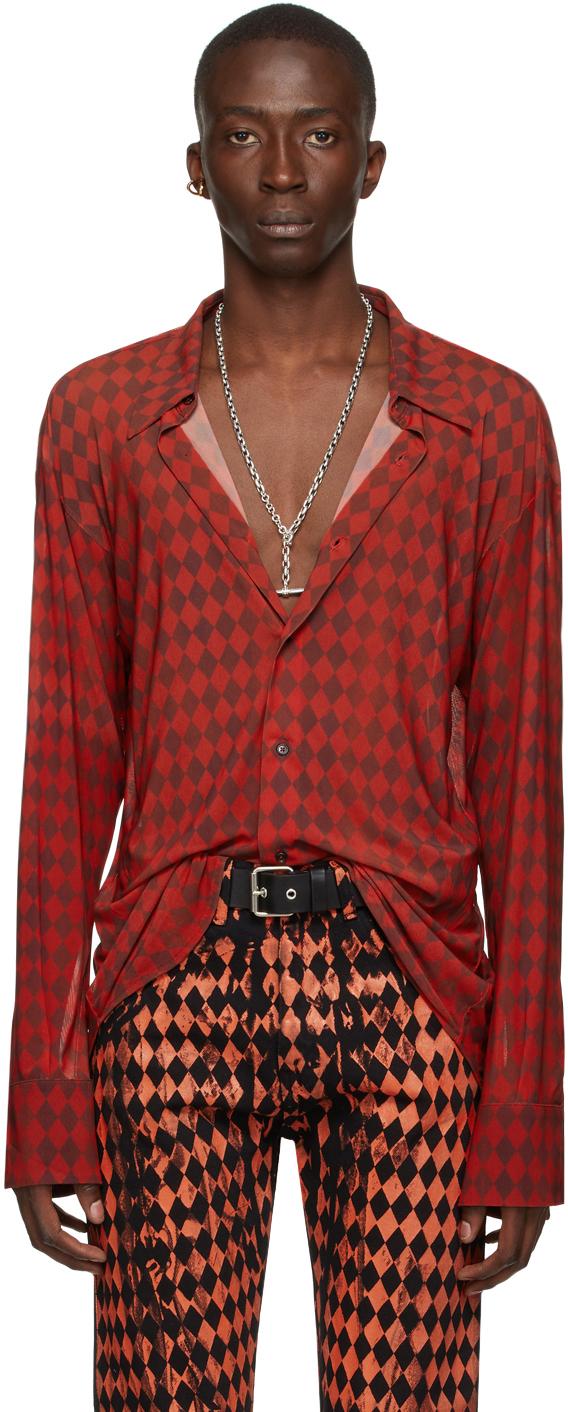 Red & Brown Mesh Harlequin Shirt