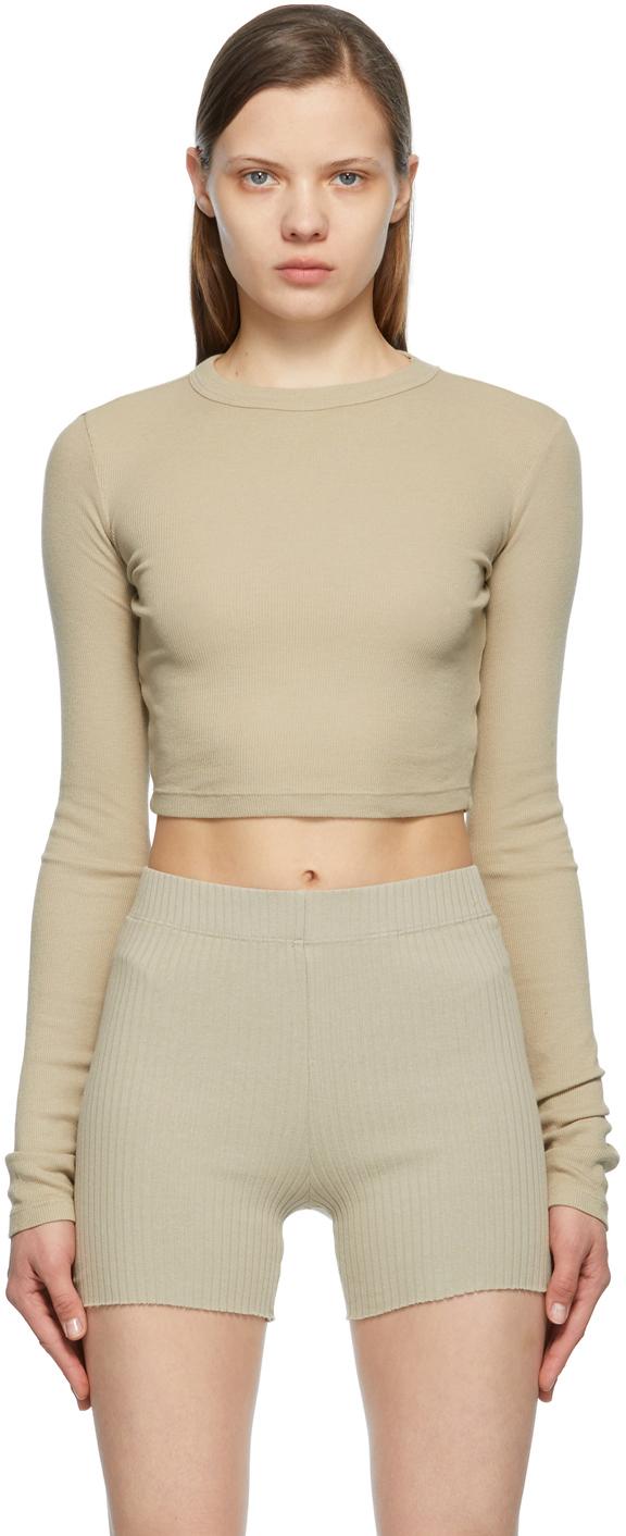 Beige Crop Verona Long Sleeve T-Shirt