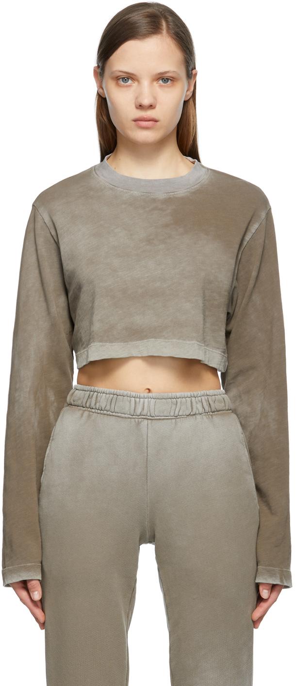 Grey Crop Tokyo Long Sleeve T-Shirt