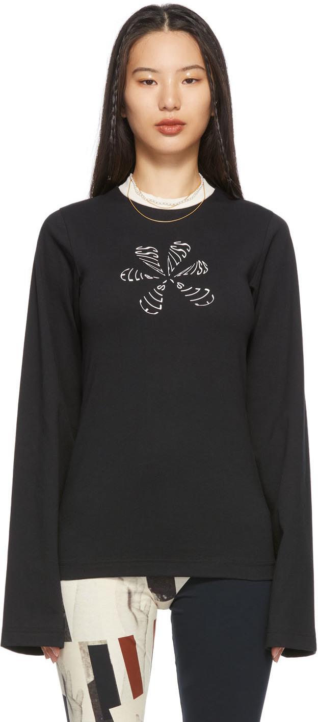 Black Flower Doodle Long Sleeve T-Shirt