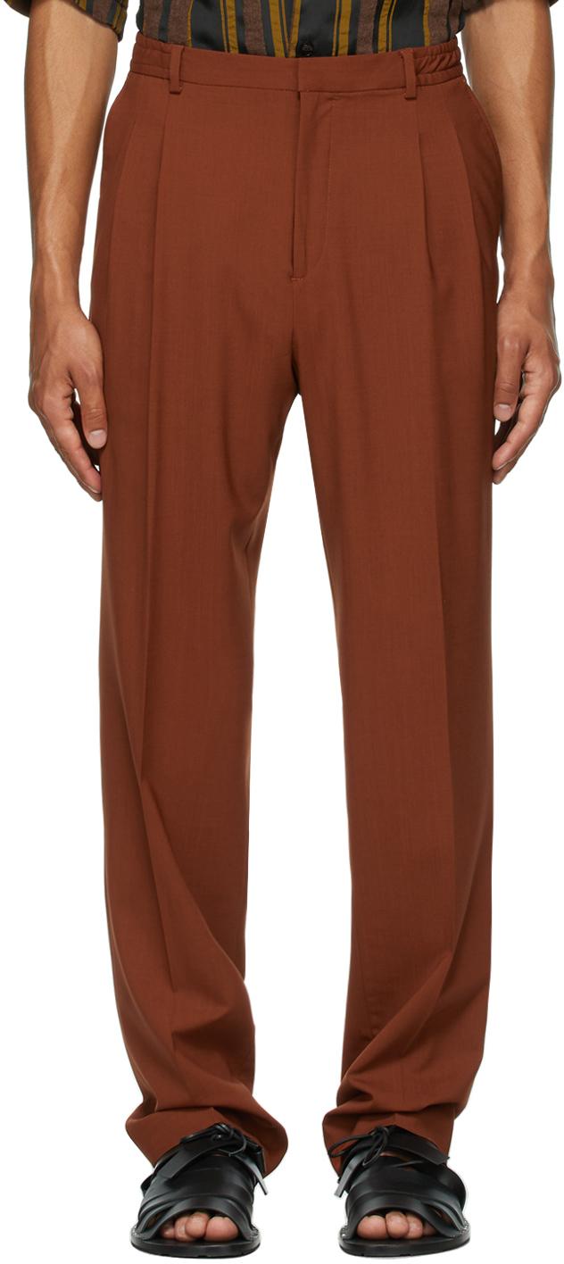 Orange Wool Jez Pleated Trousers
