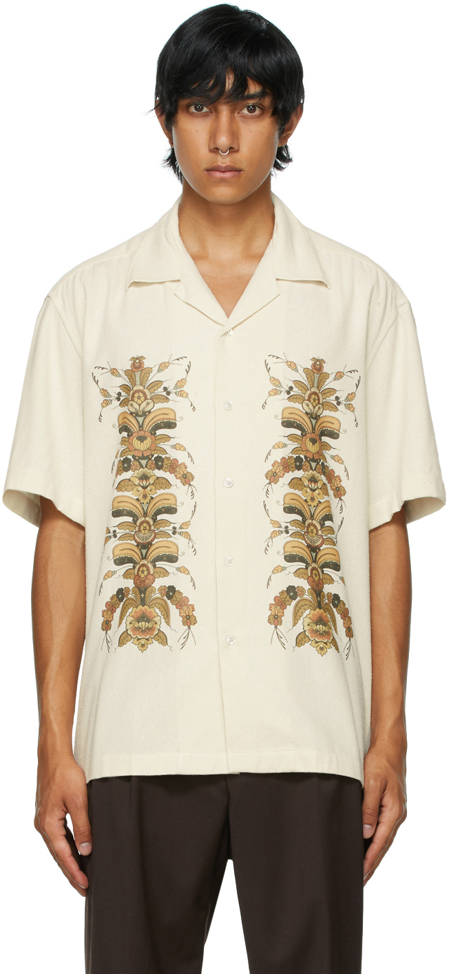 Beige Silk Sol Kurbits Short Sleeve Shirt