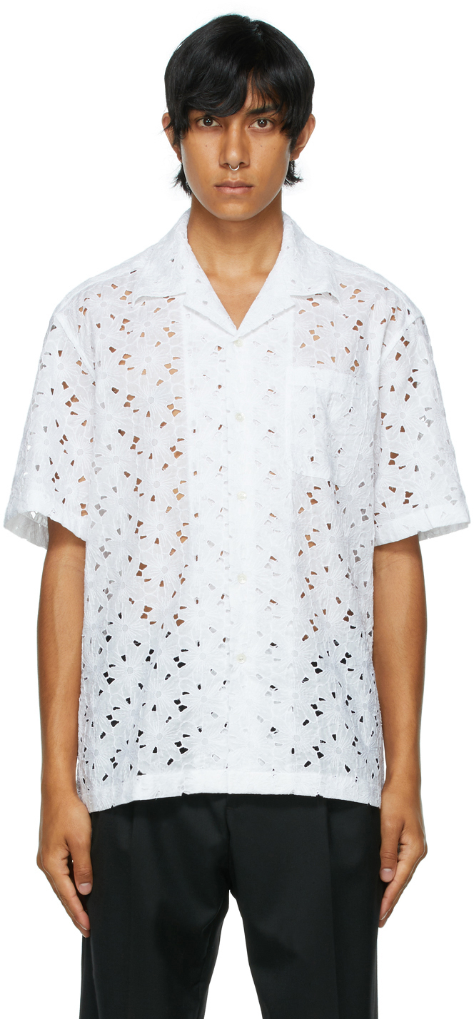 White Ture Broderie Anglaise Short Sleeve Shirt
