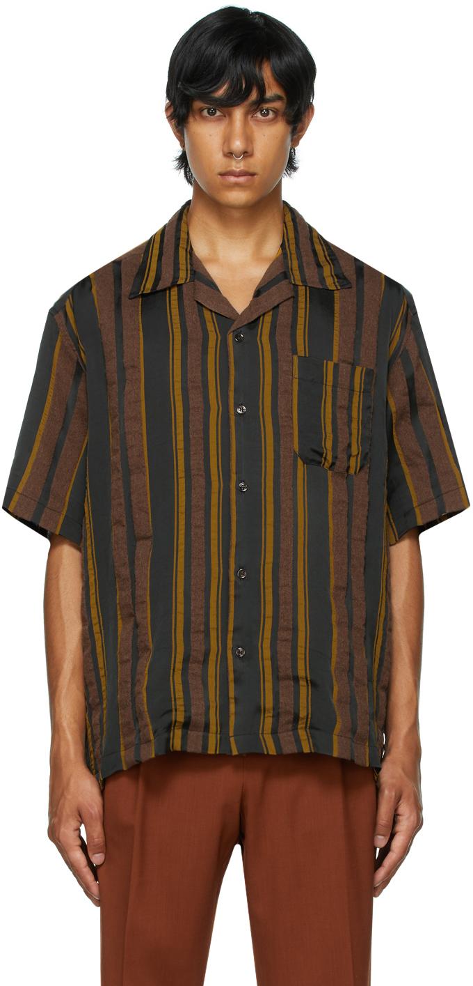 Brown Stripe Ture Collar Short Sleeve Shirt