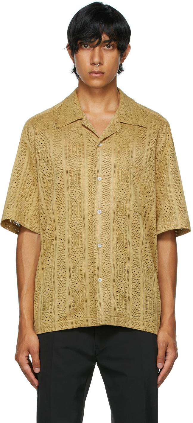 Khaki Ture Camp Collar Short Sleeve Shirt