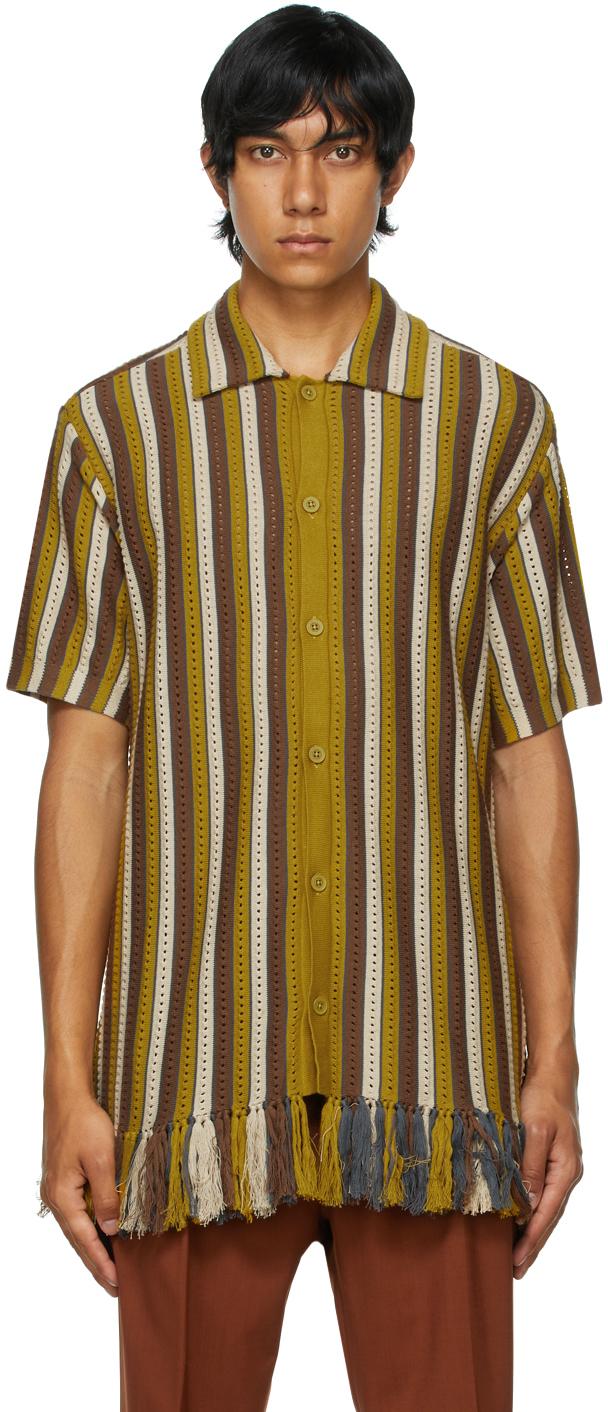 Brown Weston Knit Stripe Short Sleeve Shirt